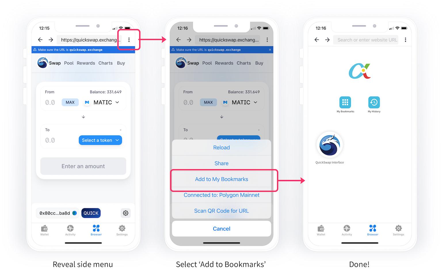 quickswap add to bookmarks